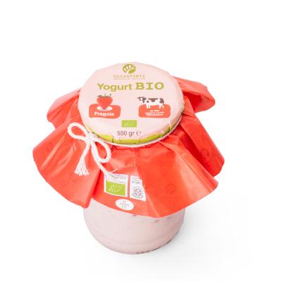 412 - fragola - yogurt - 550 ml in vetro - occhipinti - latticini di fattoria - modica